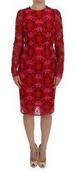 Dolce And Gabbana Dress Womenand039s Red Floral Ricamo Sheath Long Sleeve It40/us4/m