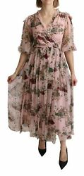 Dolce And Gabbana Dress Womenand039s Pink Bengal Cat Print A-line Maxi Silk It38/us2/s