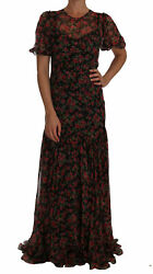 Dolce And Gabbana Dress Women's Black Floral Roses A-line Shift Gown It40/us4/m