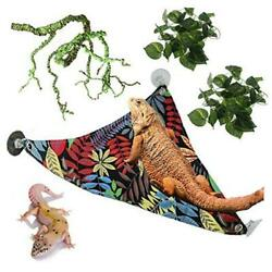 Bearded Dragon Hammock with Suction Cup Hooks Flexible Reptile Plants Vine
