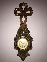 Antique Wall Clock Pressed Wood Bow Gilt Made in USA Pat Pend 1902 1907 1908