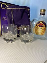 Crown Royal Canadian Whiskey Rock Glasses Round Rippled Base Bag Box And Bottle