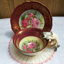 Foley Bone China Tea Cup Saucer Large Cabbage Red Pink Roses Gold Gilt England