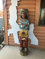 Hand Carved Wooden Native American Indian Statue Solid Wood 6ft 200+ Years Old