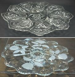 Set 2 Footed Cake Plates Stands Clear Glass Embossed Frosted Roses Flowers