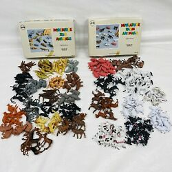Vtg Marvel Education Company Plastic Miniature Zoo And Farm Animals In Boxes