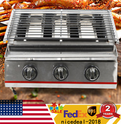 3 Burner Portable Stainless Steel Bbq Tabletop Lpg Gas Grill Outdoor 2800pa Sale