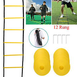 12 Rung Agility Speed Training Ladder and 10 Cones Basketball Football Soccer