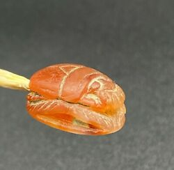 Vintage Jewelry Ancient Egyptian Art Scarab Stamp Bead Amulet Engraved Carnelian