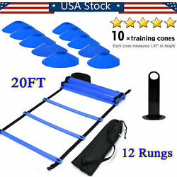 12 Rung Fitness Speedamp;Agility Ladder Training Equipment Kit With 10 Speed Cones