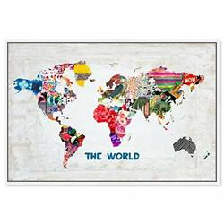 Maps And Flags Framed Wall Art Canvas Prints And039hipster Mapa Mundiand039 World Maps