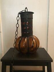 Vintage Mcm Amber Glass And Iron Swag Hanging Light Lamp - Rare