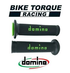 Domino Black / Green Road And Race Open End Grips To Fit Victory Bikes