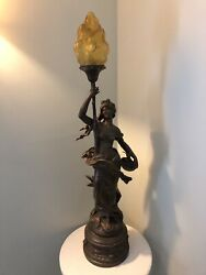 Large Victorian Antique Spelter Figural Lamp By Aug Moreau Rewired