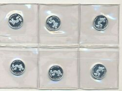 Lot Of 6 Mickey Mouse Silver Rounds 1/20 Oz Each 999 Fine-in Sheet-ships Free