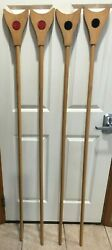 Vintage Wooden Shuffleboard Sticks 64 Long 7 Wide Head Black And Red Dot Nice