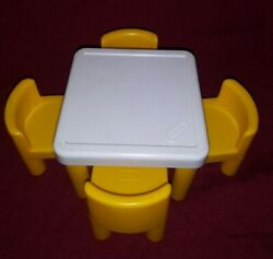 Little Tikes Doll House Furniture Table With 4 Yellow Chairs