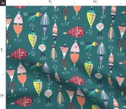 Fishing Lures Cabin Green Fish Lake Camping Sport Spoonflower Fabric By The Yard