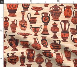 Greek Vases Watercolor Pottery Art Spoonflower Fabric By The Yard