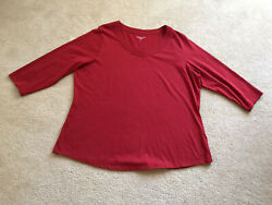 Coldwater Creek Red Stretch Cotton Knit T-shirt Top 3/4 Sleeve 1x