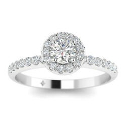1ct D-si1 Diamond Pave Halo Engagement Ring 14k White Gold Any Size