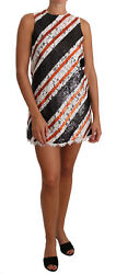 Dolce And Gabbana Dress Womenand039s White And Orangesequin Floral Lace It40/us4/m
