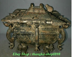 Old Chinese Palace Bronze Ware Beast Handle Wine Food Incense Burner Censer