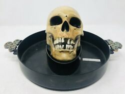 Vintage Gemmy Skull Head Motion Animated Lighted Sound Candy Dish Butler Tray