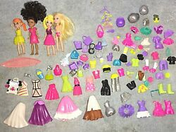 Polly Pocket Vintage Dolls and Clothes Over 90 piece Lot from the early 2000#x27;s $25.00