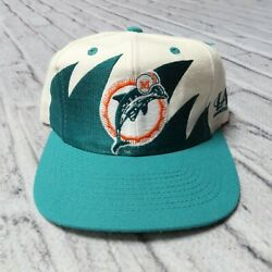 Vintage 90s Miami Dolphins Shark Tooth Snapback Hat Cap Logo Athletic Wool
