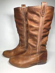 Diesel Leather Boots Womens 6.5 Us 37 Brown Slouchy Calf Tall Biker Riding