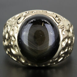 14k Yellow Gold Vintage Black Sapphire Nugget Ring