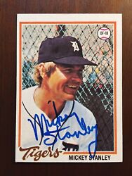 Autographed 1978 Topps Mickey Stanley 232 Detroit Tigers Gold Glove Michigan