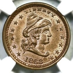 1863 F-45/332d R-7 Ngc Ms 66 Liberty - Our Army Civil War Token