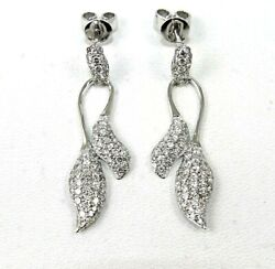 Natural Round Diamond Oval Cluster Drop Lady's Earrings 18k White Gold 2.00ct