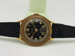 Used Vintage Lynk 9k Gold Black Dial Manual Wind Trench Manand039s Watch