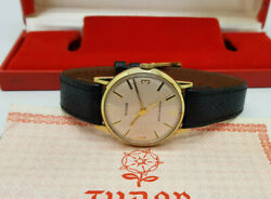 Rare Rolex Tudor Solid 9k Gold Silver Dial Manual Wind Manand039s Watch Box And Paper