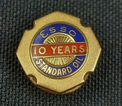 Vintage Esso Standard Oil Exxon 14k Solid Gold Lapel Pin 10 Year Service Pin