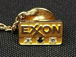 Vintage Exxon 10k Gold Tie Tack Lapel Pin With Diamonds And Sapphire