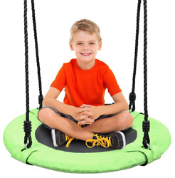 Odoland 24 Childrens Tree Rope Swing Swingseat Outdoor Saucer Open Box - Green