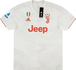 Nwt Large Adidas 2019 2020 Juventus Away Jersey + Scudetto Patch + Serie A Patch