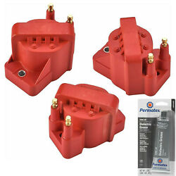3 Pack Engine Ignition Coil And Grease For Chevrolet 5.3l 4.6l 3.1l 3.4l 2.2l 2.5l