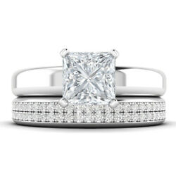 1.22ct D-vs1 Diamond Wide Engagement Ring 18k White Gold Any Size