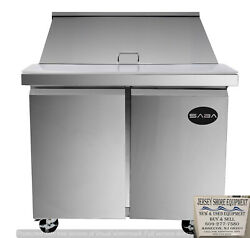 Saba 60 Commercial Sandwich/salad Prep Table Stainless Steel Food Prep W/ Pans