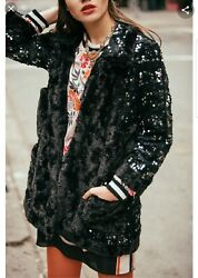 Womenand039s Anna Sui Sequin Faux Fur Coat Black Size 8 Party Lightweight Rare 680