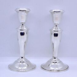 Vintage Pair Of Gorham 815/1 925 Sterling Silver Weighted Candlesticks 6-3/4