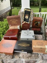 Lot Of 11 Vintage Wood Cigar Boxes. All Different.