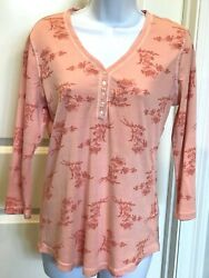 Women's Chaps Henley Size Medium Nwt Pink Peach Floral 3/4 Sleeves Soft