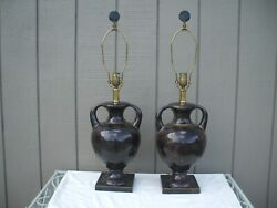 Pair- Rare Vintage Maitland Smith Inlayed Table Lamps W. Finials
