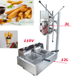 3l Commercial Vertical Manual Churrera Churros Machine With 12l Fryer 110v 5000w